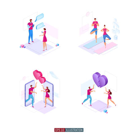 Trendy flat illustration set. Set of illustrations about the relationship between a man and a woman. Template for your design works. Vector graphics.