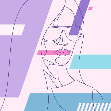 Trendy abstract background. Woman in dress and sunglasses. Pastel colorful pattern. Editable mask. Template for your design works. Vector illustration. Vektorové ilustrace