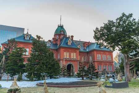 oficina antigua: The Former Hokkaido Government Office is Hokkaido�s best-known symbol and the red star on its exterior wall is the symbol of the Hokkaido Development Commission. Foto de archivo