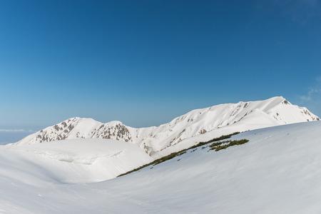 ski walking: Panoramic view of Mountains in Murodo, Tateyama Kurobe Alpine Route ,Japan