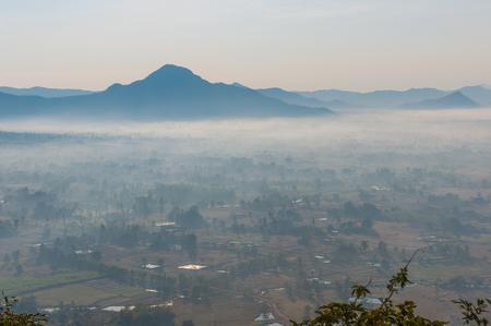 loei: Sunrise with fog at Phu Tok,Loei Province,Thailand