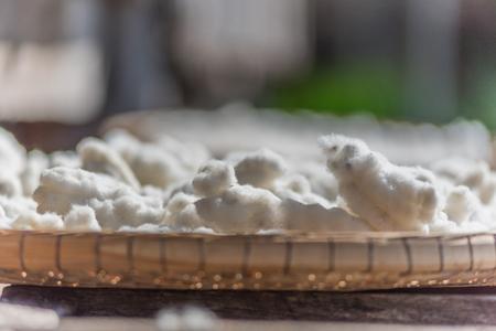 White silkworm cocoon in basket