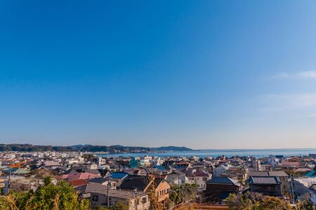Arial view of traditional Japanese town against clear sky,Kamakura,Japan Stock Photo