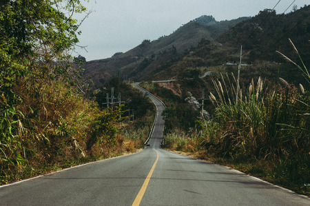 Slope mountain road in Thailand