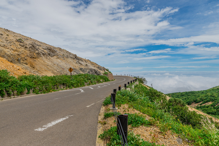 Beautiful mountain road at Mt. Azuma,Fukushima Prefecture,Japan Stock Photo