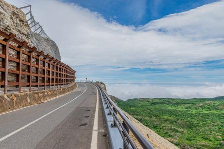 thoroughfare: Beautiful mountain road at Mt. Azuma,Fukushima Prefecture,Japan Stock Photo