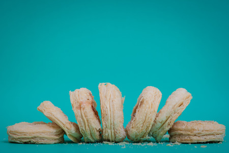 Strawberry jam cookies on blue backgrounds