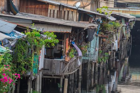 방콕, 태국의 빈민가에서의 삶 스톡 콘텐츠