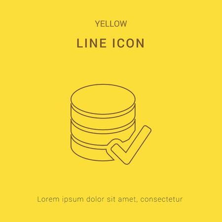 sql: SQL Database checked Cute Yellow thin line Icon