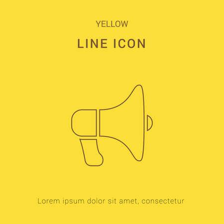 loud speaker: Loud Speaker Cute Yellow thin line Icon