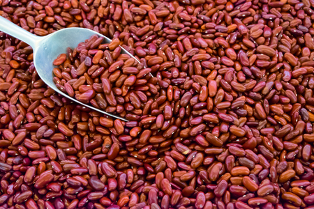 rajma: Close up Red beans with spoon background,azuki red bean