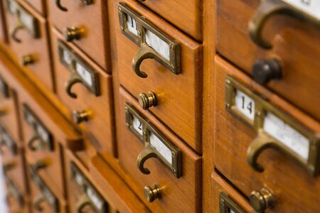 Vintage wood library card catalog Stock Photo