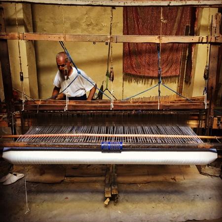 loom: Moroccan throws hand loom Stock Photo