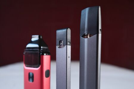 3 different vape pen electronic cigarette devices product shot isolated close up
