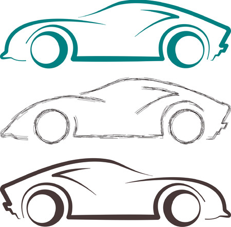 Sports Car Sketch And Line Art Can Be Use As Logo And Symbol Royalty
