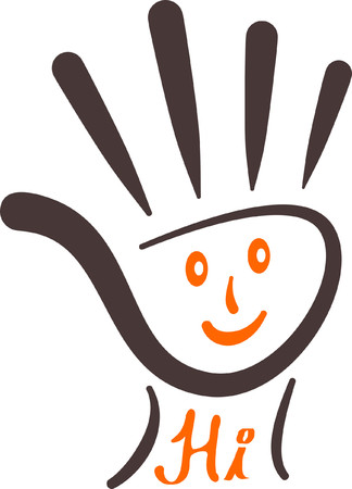 Stroked Palm with Smiley Hi Vector illustration can be used as sign symbol or logo.
