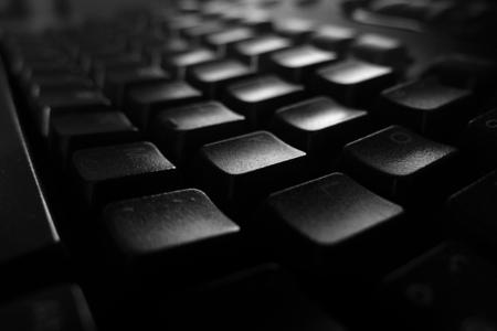 teclado de computadora: Computer keyboard in black and white Foto de archivo
