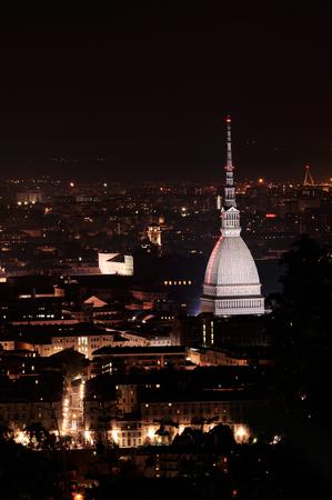 mole: Turin cityscape at night - Mole Antonelliana