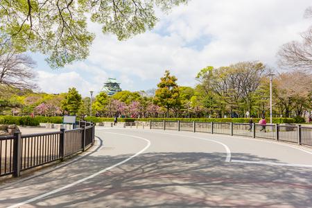 osaka castle: Osaka Castle with Sakura Forest Stock Photo