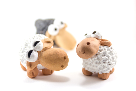 baby isolated: Sheep decorations and toy isolated on a white background