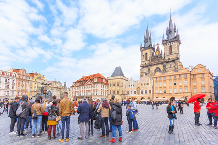town square: PRAGUE, CZECH REPUBLIC - APRIL 15, 2016: Church of Our Lady before Tyn at the Old Town Square in the historic center of Prague, Czech Republic Editorial