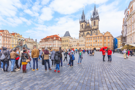 old town square: PRAGUE, CZECH REPUBLIC - APRIL 15, 2016: Church of Our Lady before Tyn at the Old Town Square in the historic center of Prague, Czech Republic Editorial