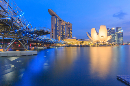 marina life: SINGAPORE-MAY 15 : Marina Bay Sands Resort Hotel on May 15, 2016 in Singapore. It is billed as the worlds most expensive standalone casino property.
