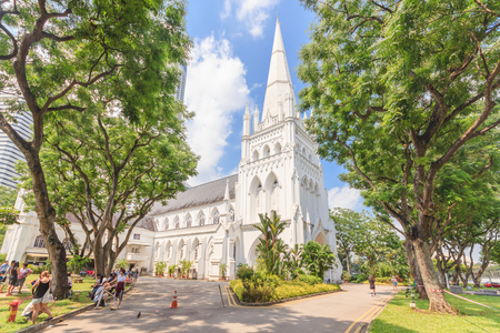 andrews: SINGAPORE - MAY 15, 2016: Day scene of St Andrews Cathedral in Singapore. St Andrews Cathedral is one of the famous tourist attraction in Singapore.