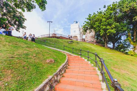 マラッカ, マレーシア - 8 月 12 日: 2016 年 8 月 12 日マラッカでの聖パウロ教会のファサード、Malaysia.St.Paul の教会に建てられた 1521 年、Portuguese.It は、