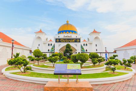 MALACCA, MALAYSIA - AUGUST 12, 2016:Melaka Strait Mosque (Masjid Selat), Malacca, Malaysia taken during blue sky