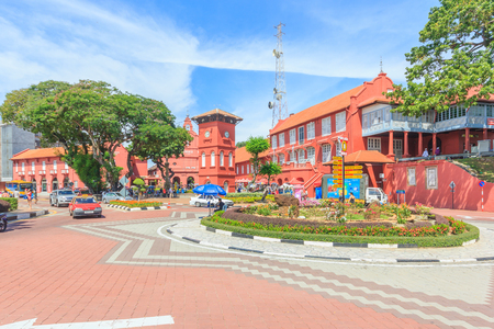 western script: MALACCA, MALAYSIA - AUGUST 12,2016: A view of Christ Church & Dutch Square on August 12, 2016 in Malacca, Malaysia. It was built in 1753 by Dutch & is the oldest 18th century Protestant church in Malaysia.