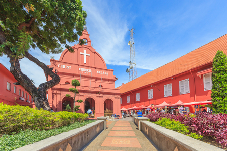 protestant: MALACCA, MALAYSIA - AUGUST 12,2016: A view of Christ Church & Dutch Square on August 12, 2016 in Malacca, Malaysia. It was built in 1753 by Dutch & is the oldest 18th century Protestant church in Malaysia.