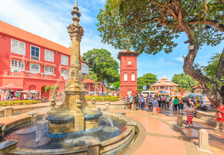 MALACCA, MALAYSIA - AUGUST 12,2016: A view of Christ Church & Dutch Square on August 12, 2016 in Malacca, Malaysia. It was built in 1753 by Dutch & is the oldest 18th century Protestant church in Malaysia.