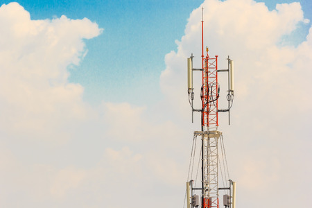 satelite: Telecommunication Radio Antenna and Satelite Tower with blue sky