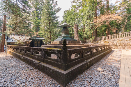 urn: NIKKO, JAPAN - APRIL 16, 2014: The tomb with urn contains the remains of Tokugawa Ieyasu in Tosho-gu shrine Editorial