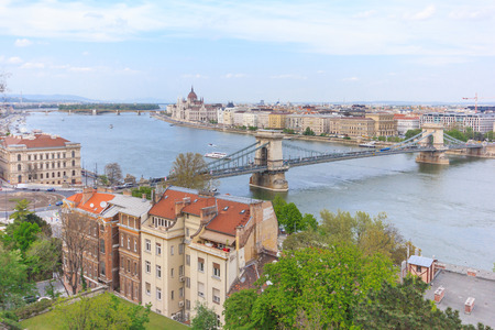 building a chain: Panorama of Budapest with the Chain Bridge and the hungarian Parliament building, Hungary
