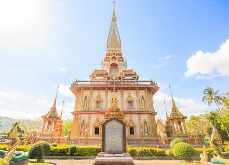 Beautiful pagoda at Wat Chalong or Wat Chaitararam Temple famous attractions and place of worship in Phuket Province, Thailand