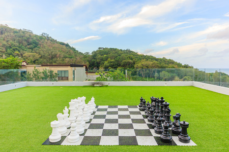 black & white checkerboard with figures on green lawn background