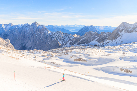 Zugspitze Glacier Ski Resort in Bavarian Alps, Germany. The Zugspitze, at 2,962 meters above sea level, is the highest mountain in Germany Stock Photo