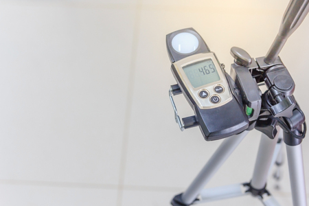 Lux meter for measuring light intensity of office room at new building factory Stock Photo
