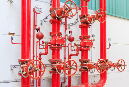 Water sprinkler and fire alarm system, water sprinkler control system Stock Photo