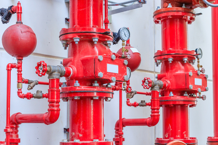 Water sprinkler and fire alarm system, water sprinkler control system Archivio Fotografico