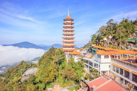 Pagoda at Chin Swee Temple, Genting Highland is a famous tourist attraction near Kuala Lumpur. During this photo shoot thick fog and the temperature is too cold Stock Photo
