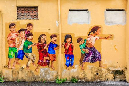 イポー市、マレーシア、クアラルンプールの北約 200 km のオールドタウンでイポー、マレーシア - 2017 年 4 月 15 日: ストリート アート 報道画像