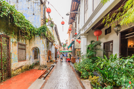 IPOH, PERAK, MALAYSIA - APRIL 14, 2017: Concubine Lane is one of the famous attraction at the old town of Ipoh, Perak, due its unique vintage buildings and street sellers.
