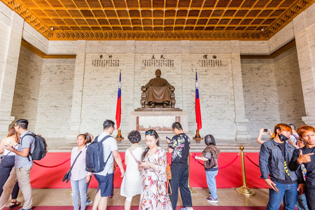 TAIPEI, TAIWAN - APRIL 29, 2017: Visitors at the Chiang Kai-Shek Memorial Hall in Taipei. Chiang Kai-shek Memorial Hall is a popular travel destination among tourists visiting Taiwan. Editorial