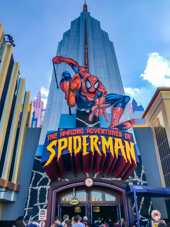 ORLANDO, USA, FLORIDA - JANUARY 05, 2017: Entrance of The Amazing Adventures of Spider Man, Marvel Super Hero Island, Islands of Adventure of Universal Studios Orlando.