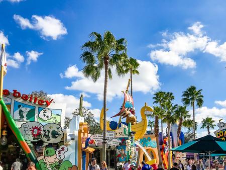 올랜도. 미국. 플로리다 - 2017 년 1 월 5 일 : 툰 라군 장소. 모험의 섬. 유니버설 스튜디오 올랜도는 미국 플로리다 올란도에 테마 파크 리조트입니다.