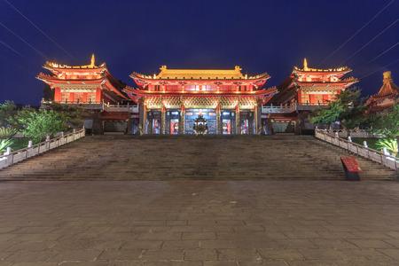 Nantou, 대만에서 태양 - 달 호수에서 원자바오 사원의 야경 스톡 콘텐츠 - 78225627