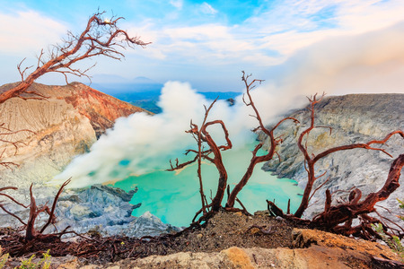 crater lake: Panoramic view of Kawah Ijen Volcano at Sunrise. The Ijen volcano complex is a group of stratovolcanoes in the Banyuwangi Regency of East Java, Indonesia.